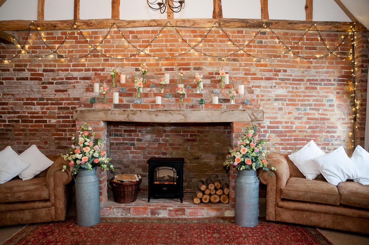 Wedding Flowers In Milk Urns Country Wedding Ideas Clock Barn Wedding Venues Hampshire Clock Barn Weddings
