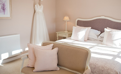 Newlyweds can spend their wedding evening in the elegant Lavender Barn wedding accomodation at Clock Barn