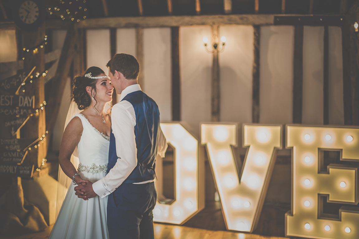 Bride and grooms first dance at Clock Barn