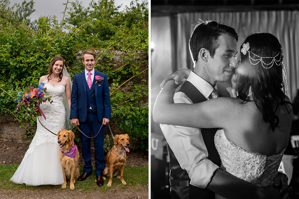Rebecca and Michael stand with their pet dogs in the gardens at this stunning wedding venue in Hampshire