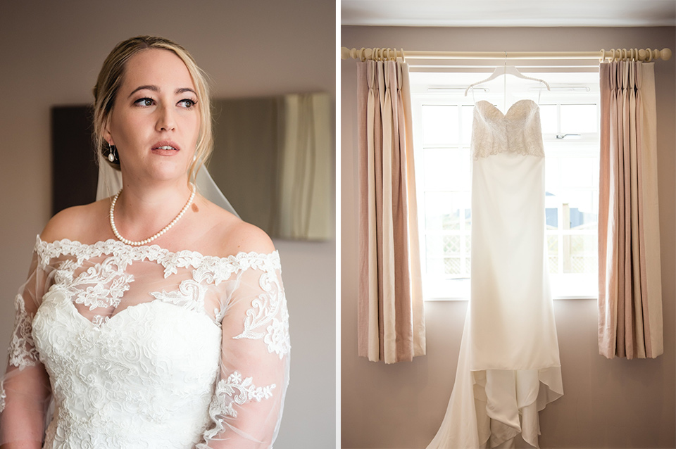 An intricate dress and delicate pearls made Emily's look extra-special for her Clock Barn wedding.