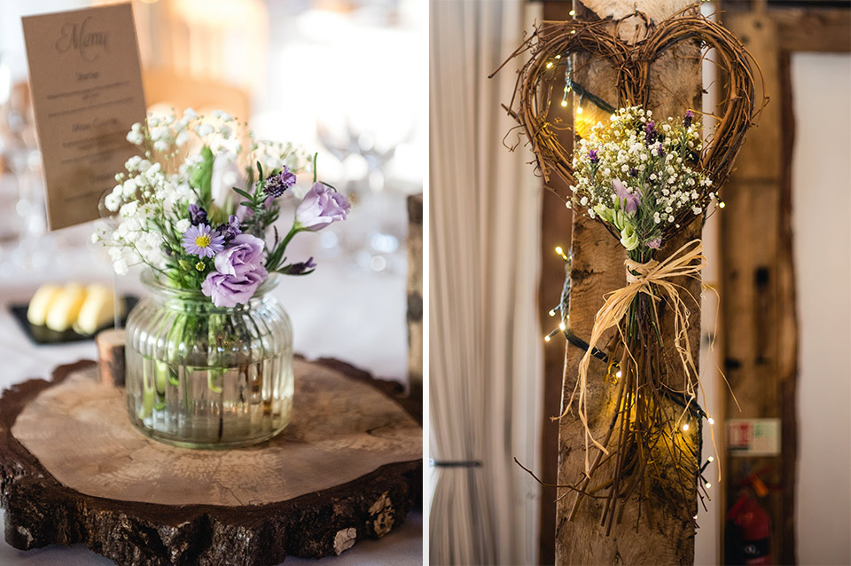 The couple decorated their barn wedding venue with natural touches and plenty of flowers