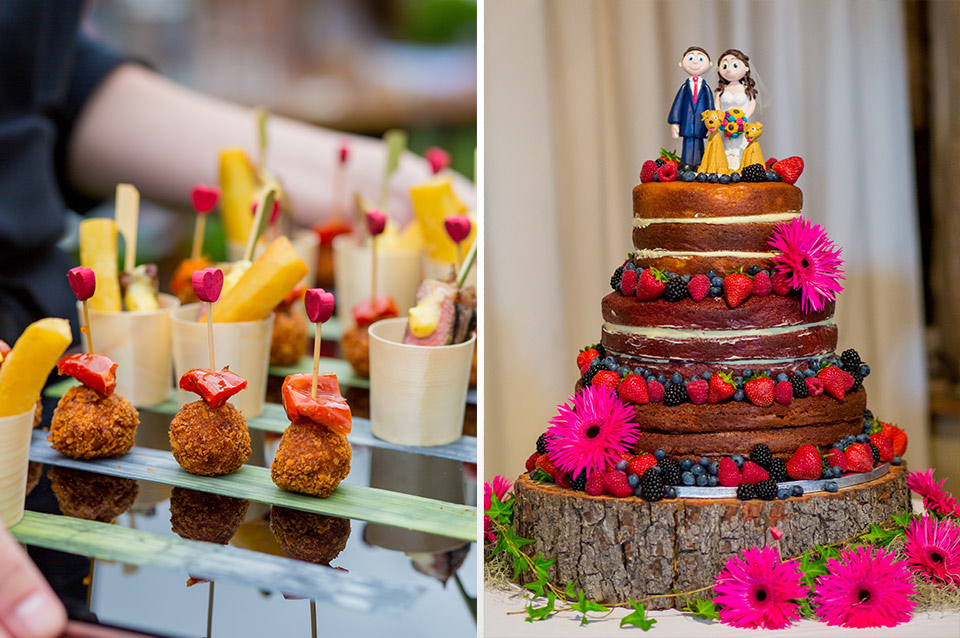 Guests enjoyed delicious wedding canapes and wedding food followed by a naked wedding cake