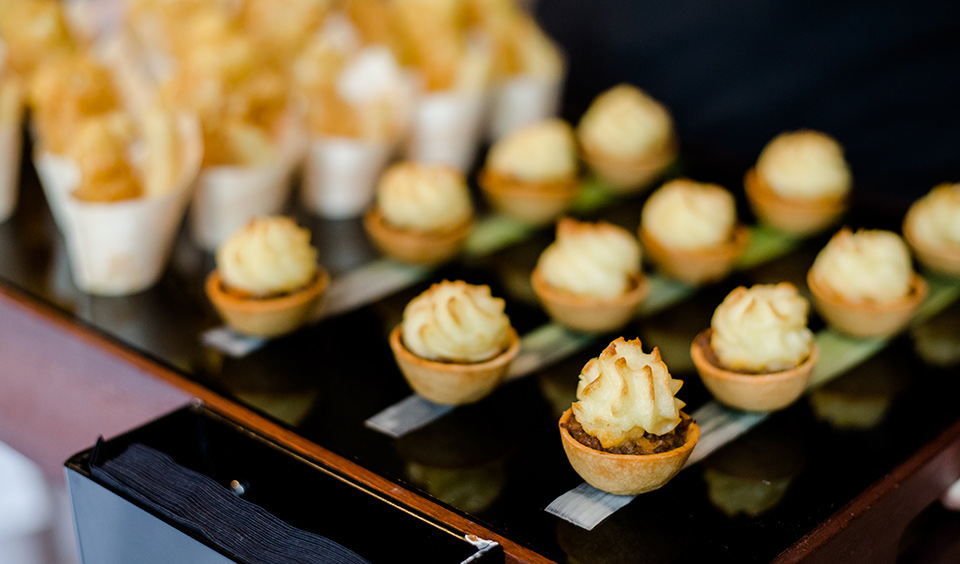 High quality wedding food was served throughout the day including these tasty wedding canapes