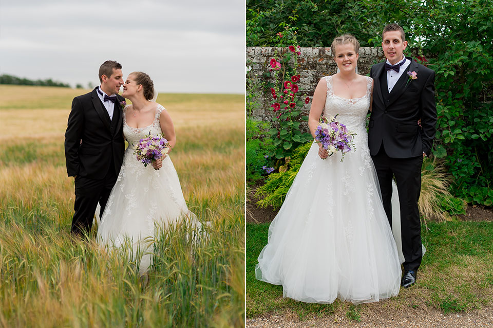 The happy newlyweds steal a moment together in the stunning country setting at Clock Barn