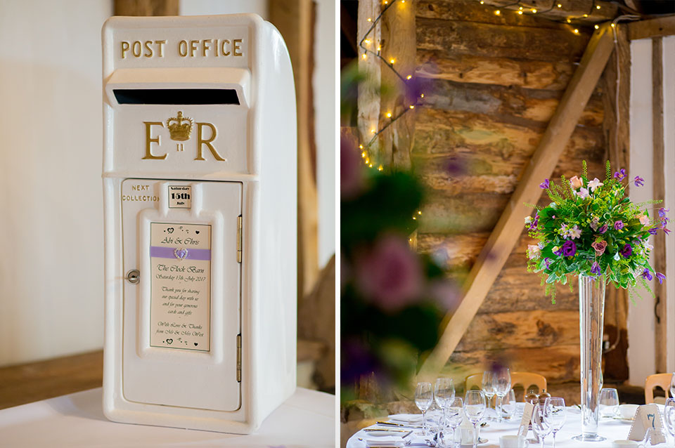 A white post box for guests to leave cards and well wishes and tall vases of purple flowers look great on tables