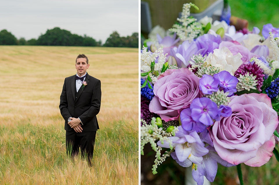 The groom wears a black tux and the bride's bouquet is a stunning array of purple flowers