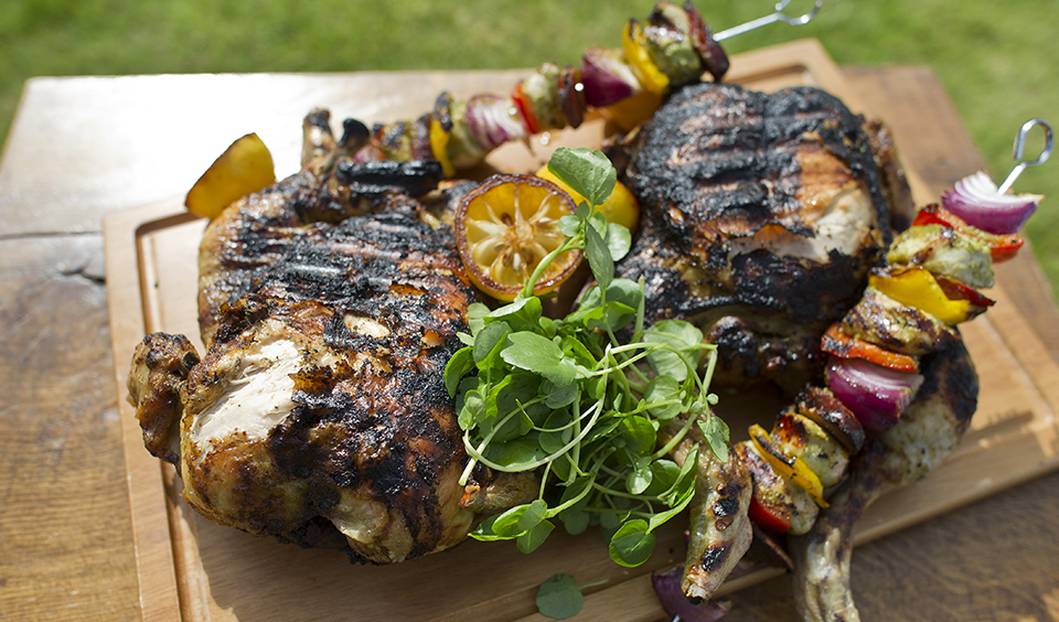 A close up of the tasty barbecue food created and served by our expert on-site catering team at Clock Barn