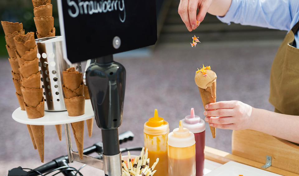 Guests can enjoy ice cream from our expert on-site catering team's own vintage ice cream bicycle