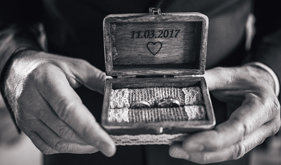 Ask your best man to carry the wedding rings in a rustic wooden box for an extra special reveal