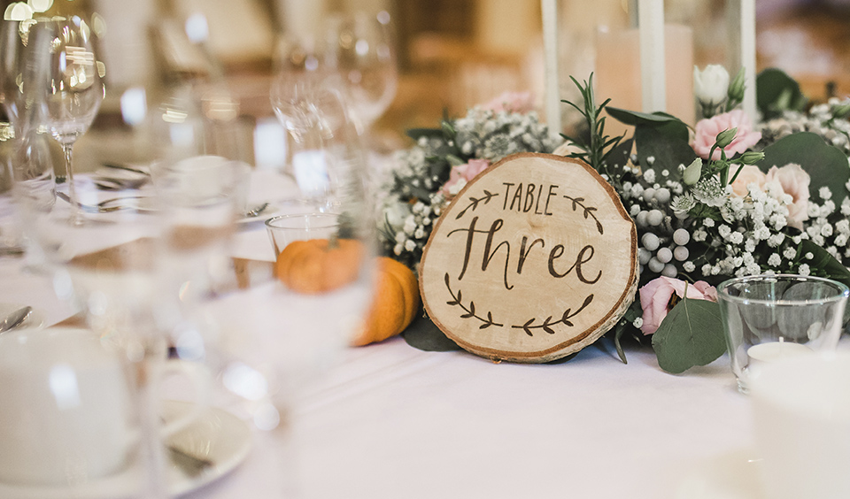 Table numbers cut from tree trunks are great for a rustic wedding – wedding ideas