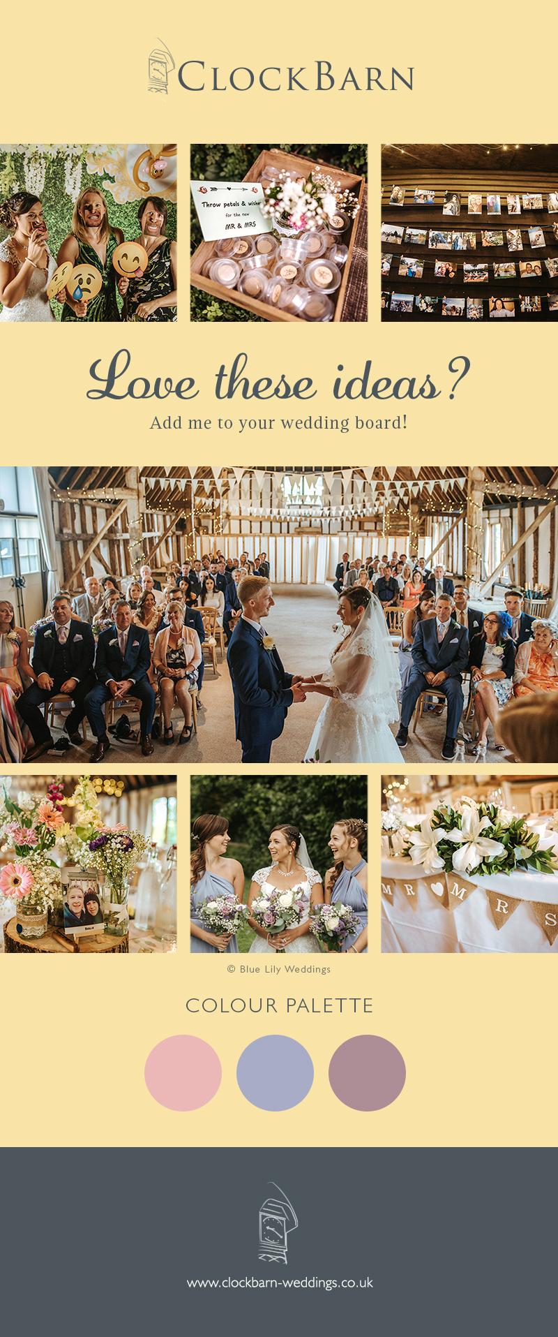 Kim and Lewis Clock Barn wedding