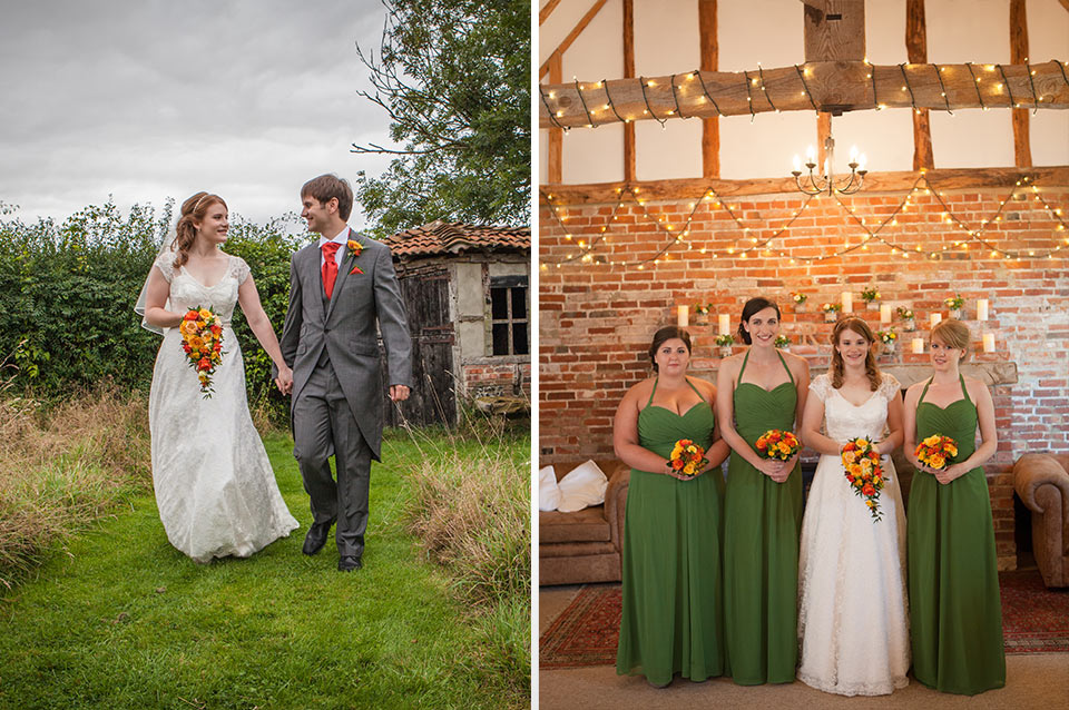 The bride stands with her bridesmaids who wore floor-length green bridesmaid dresses – wedding ideas