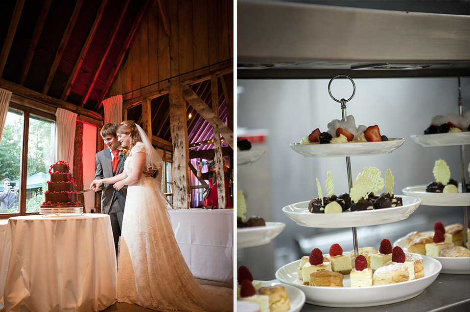 The happy couple cut their wedding cake after delicious wedding desserts are served to guests