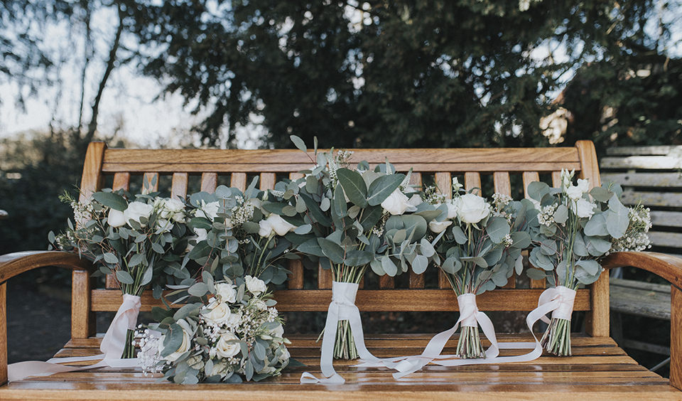 Simple yet elegant eucalyptus bridal bouquets tied with pale pink ribbon – wedding ideas
