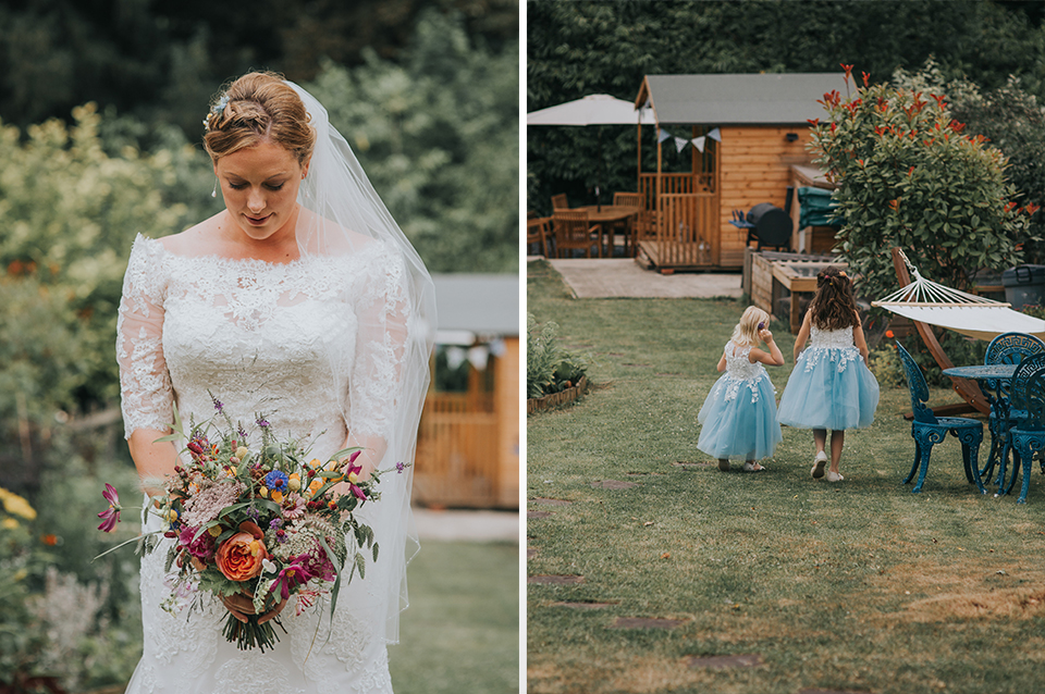 The bride wears vintage bridal gown and the flower girls take a stroll in the gardens at Clock Barn Hampshire