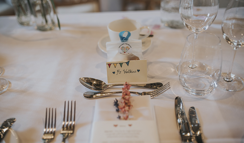 Handmade name cards at Clock Barn Hampshire- wedding ideas