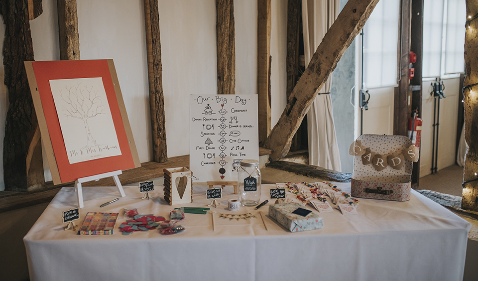 The gift table was decorated with vintage card holder and handmade wedding schedule – wedding ideas