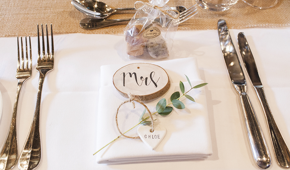 Use a small sprig of eucalyptus to simply but beautifully decorate each place setting- wedding ideas