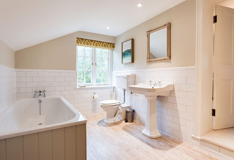 Bathrooms within the Tufton Warren Farmhouse are perfect for your families to enjoy after your wedding day at Clock Barn