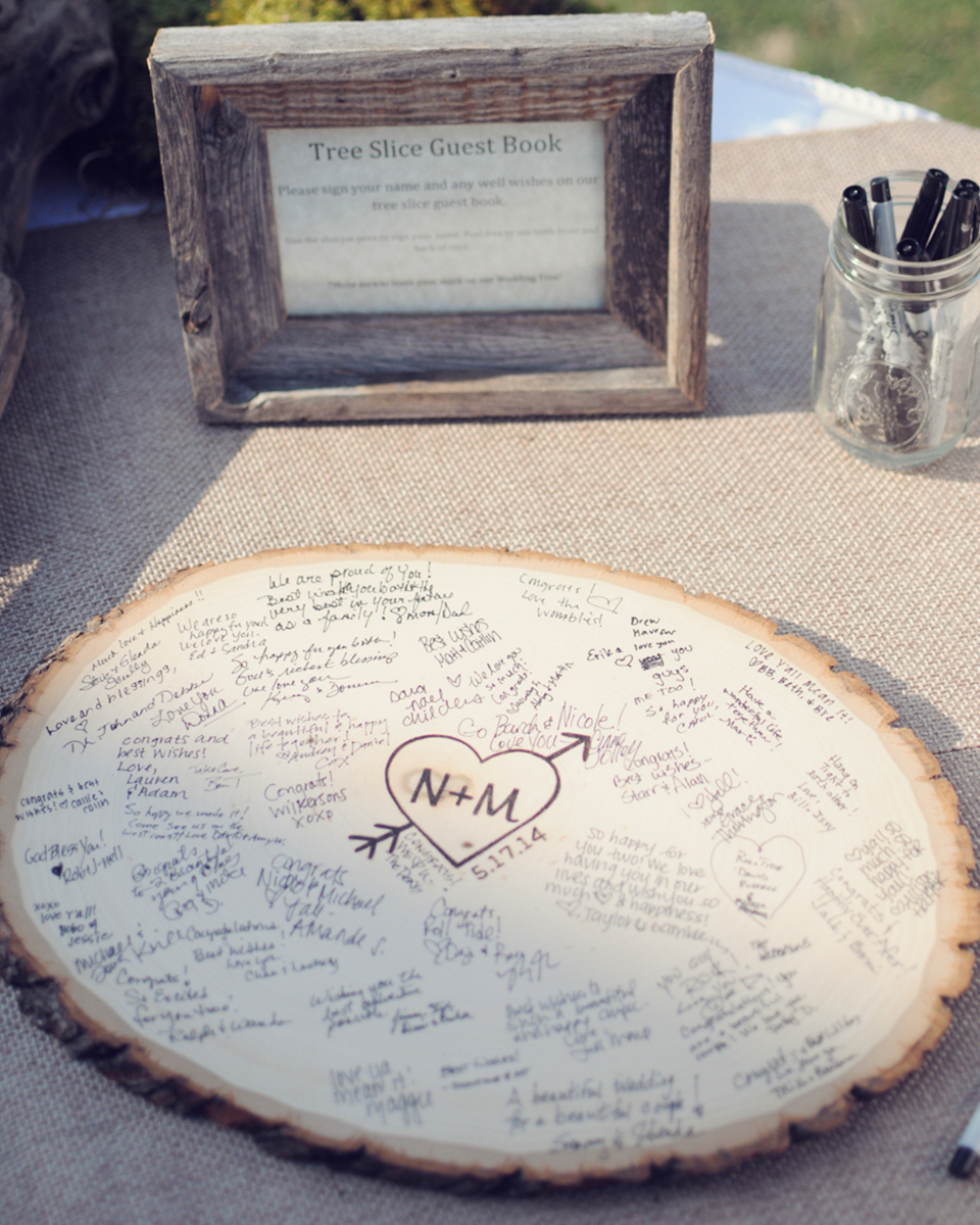 A tree slice makes a great wedding guest book and one you can display on your wall after the wedding