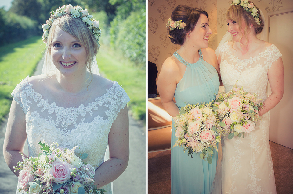 The bride wore a beautiful lace bridal gown with a floral headpiece and the bridesmaids wore pretty pastel blue dresses