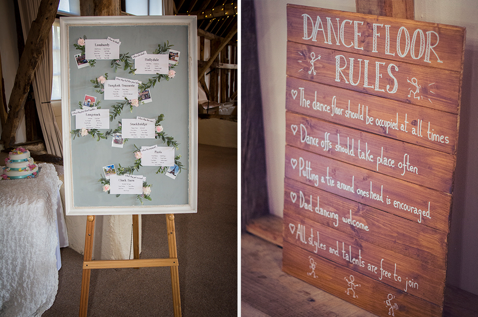 The table plan was kept elegantly simple and a notice board was used to create some fun dance floor rules at this Clock Barn wedding
