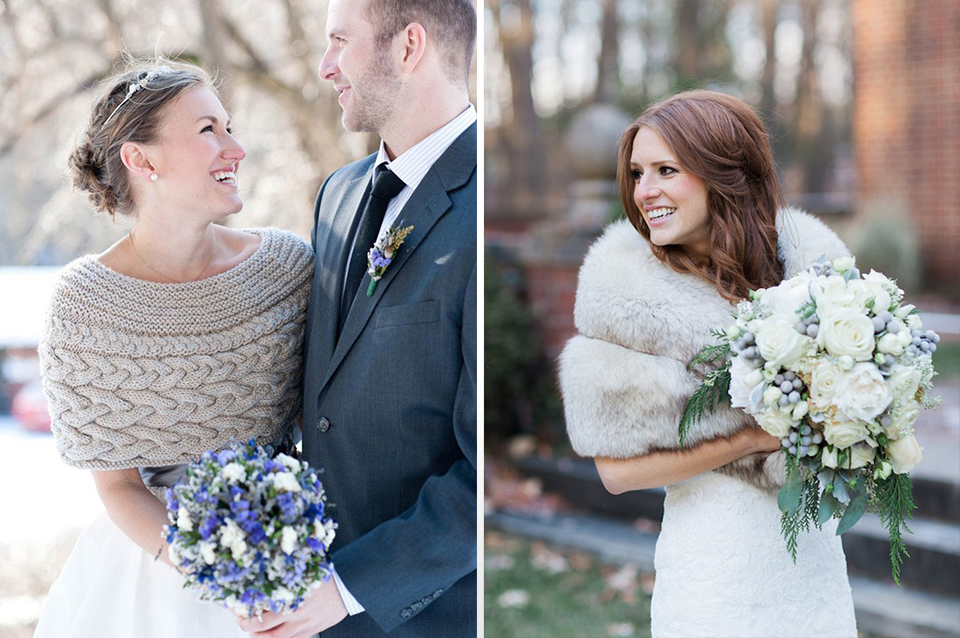Keep warm at your winter barn wedding while still being stylish by wearing luxurious wraps or shrugs