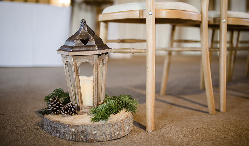 Lanterns are perfect for adding warm lighting and cosiness to your winter barn wedding at Clock Barn