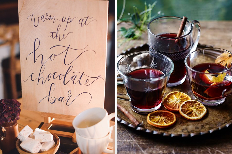 Warming winter drinks like hot chocolate and mulled wine are perfect for keeping your guests cosy at your winter wedding
