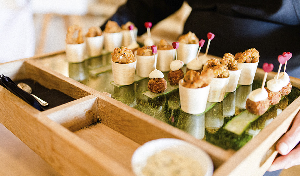 Delight your guests by serving eye catching and mouth-watering canapes at your wedding drinks reception at Clock Barn in Hampshire