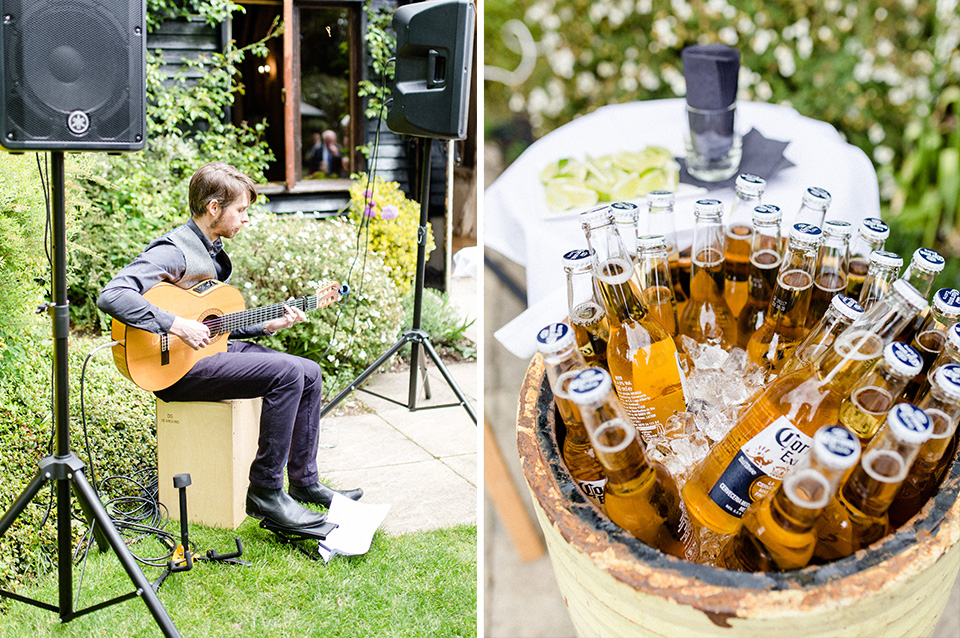 Entertain your wedding guests at your Hampshire barn wedding with acoustic music in the gardens and keep thirsts quenched with drums of chilled bottled beer