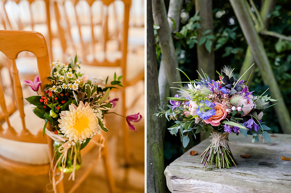 Colourful blooms work just as well in Autumn but tied frosted foliage for that seasonal look at your rustic barn wedding in Hampshire