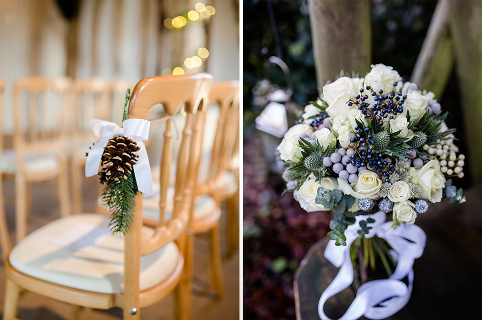 Seasonal natural items look festive tied to chairs and bouquets of wintery white flowers and frosted foliage are perfect for your Hampshire barn wedding