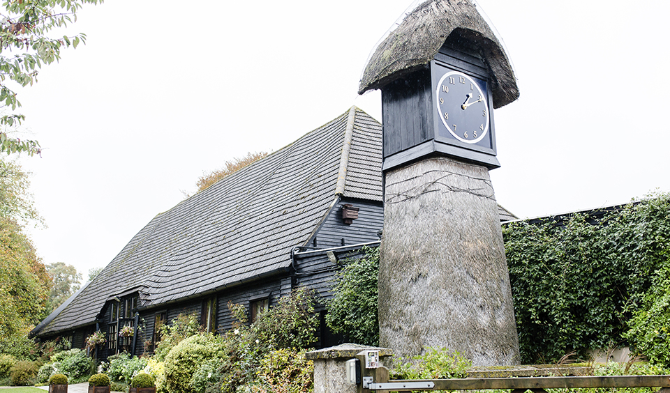 The Clock Tower at Clock Barn in Hampshire is a great focal point for your wedding photos