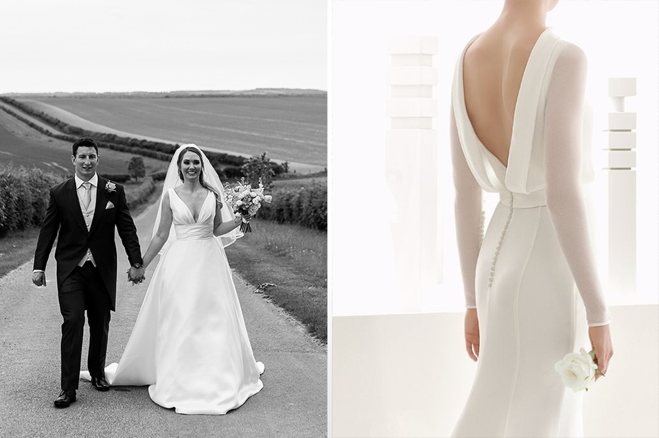 Simple but classically elegant wedding gowns with a structured fit are perfect for your 2019 wedding at Clock Barn in Hampshire