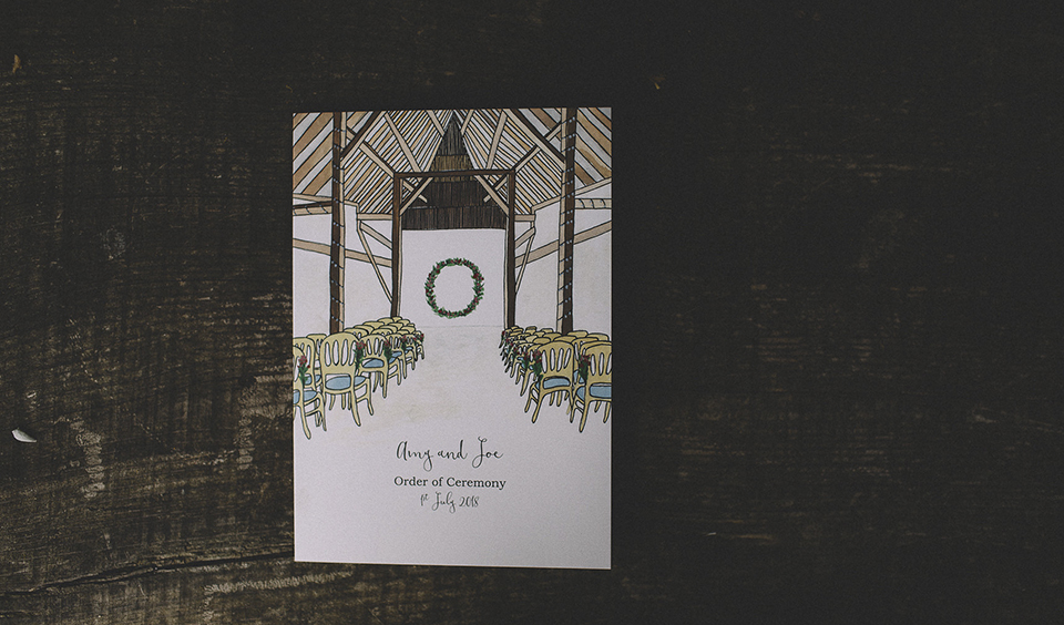 Hand drawn and custom illustrated wedding stationery adds a unique touch to your wedding at Clock Barn in Hampshire