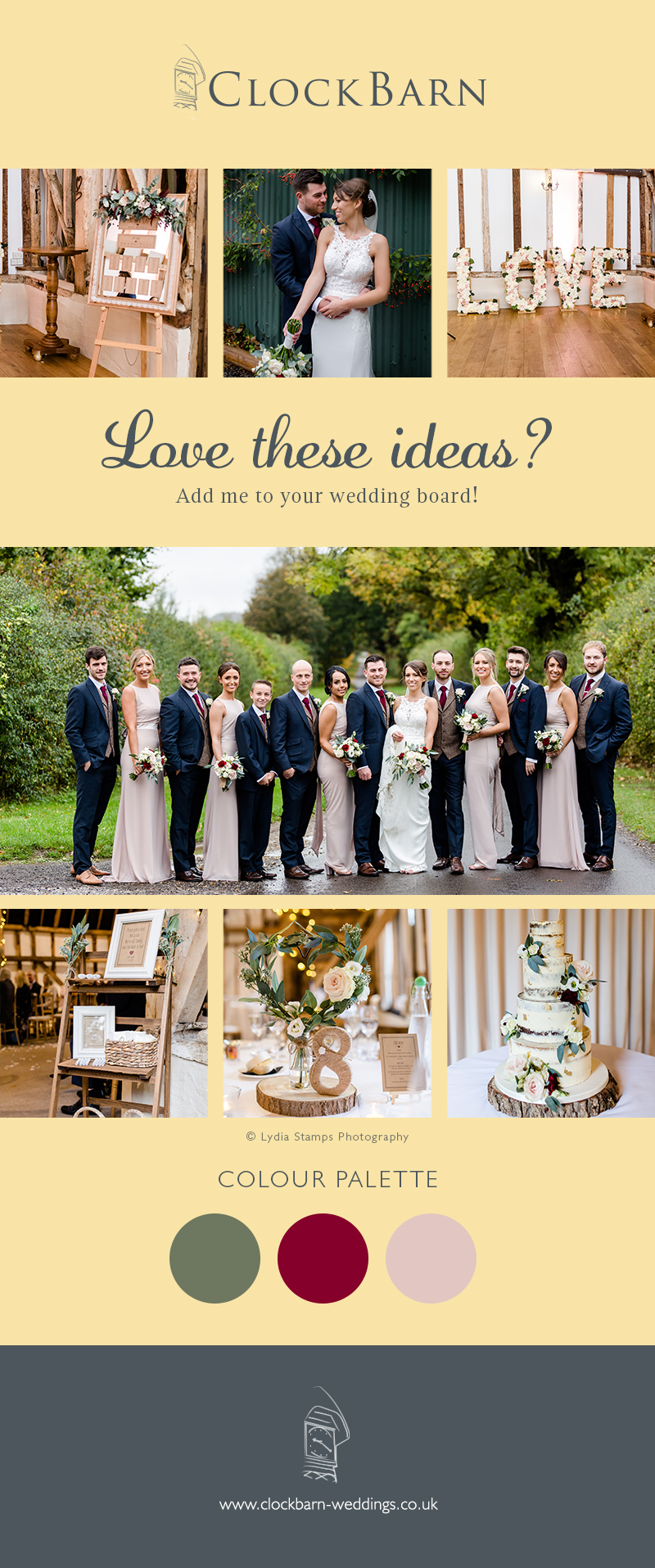 Lindsay and Luke's real life wedding at Clock Barn