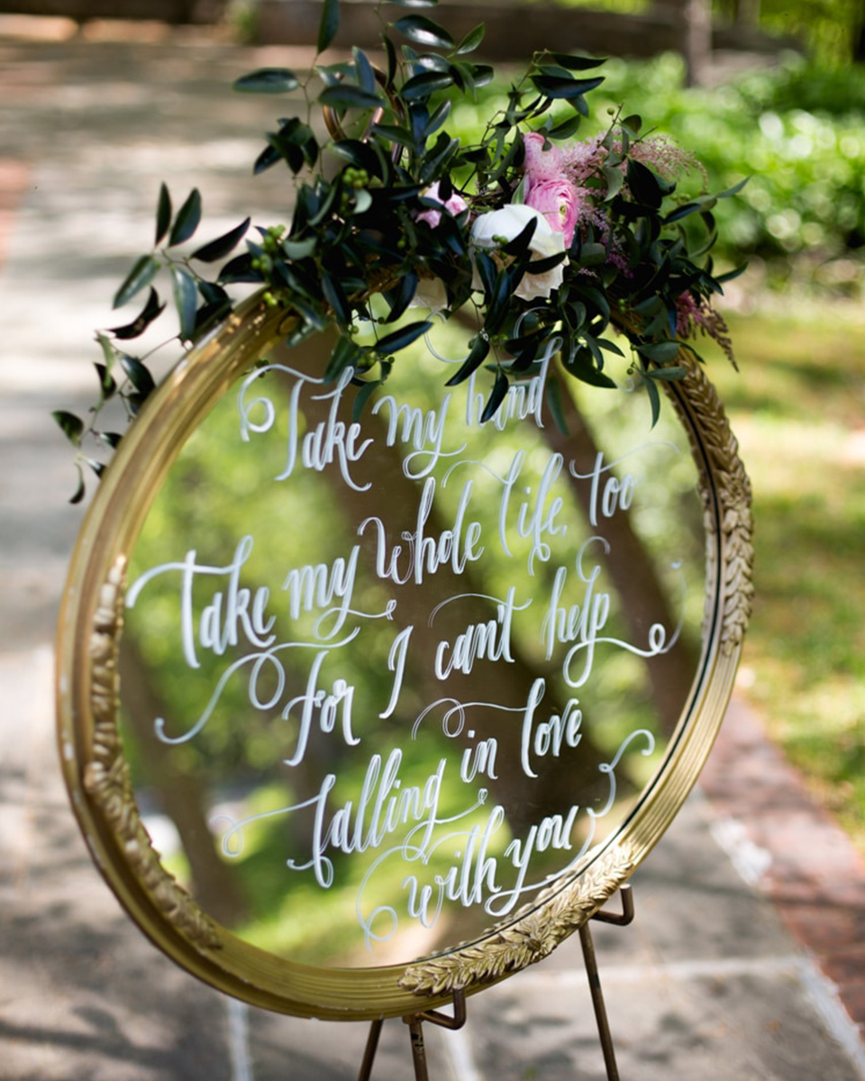 Melt the hearts of your guests and write romantic messages or poems on beautiful framed and decorated mirrors at your barn wedding in Hampshire