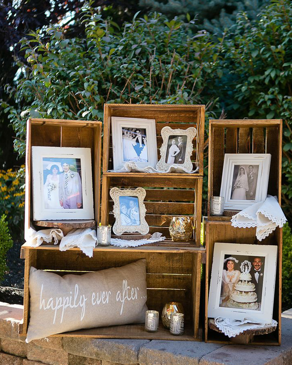 Creating framed photo displays of romantic moments and loved ones on their wedding day adds the perfect touch to your wedding at Clock Barn
