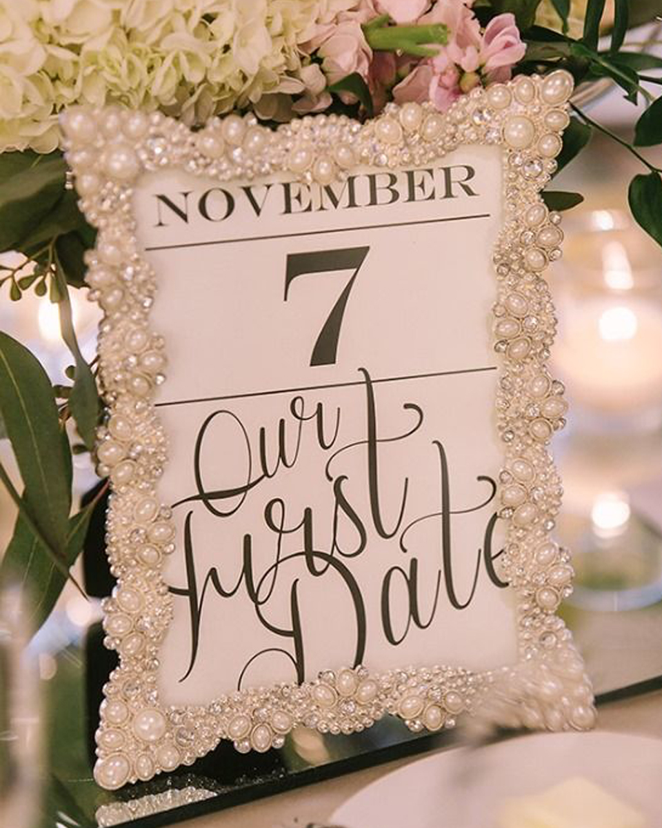 Incorporate special dates into your table numbers for a more personal and romantic touch to your barn wedding at Clock Barn