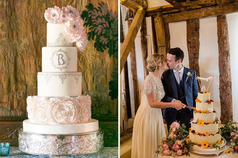 Impress your guests with a show stopping wedding cake with lots of tiers and detail at your Clock Barn wedding in Hampshire
