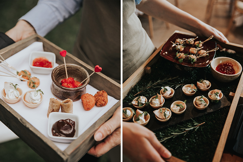 Delicious canapes were served at this spring wedding at Clock Barn