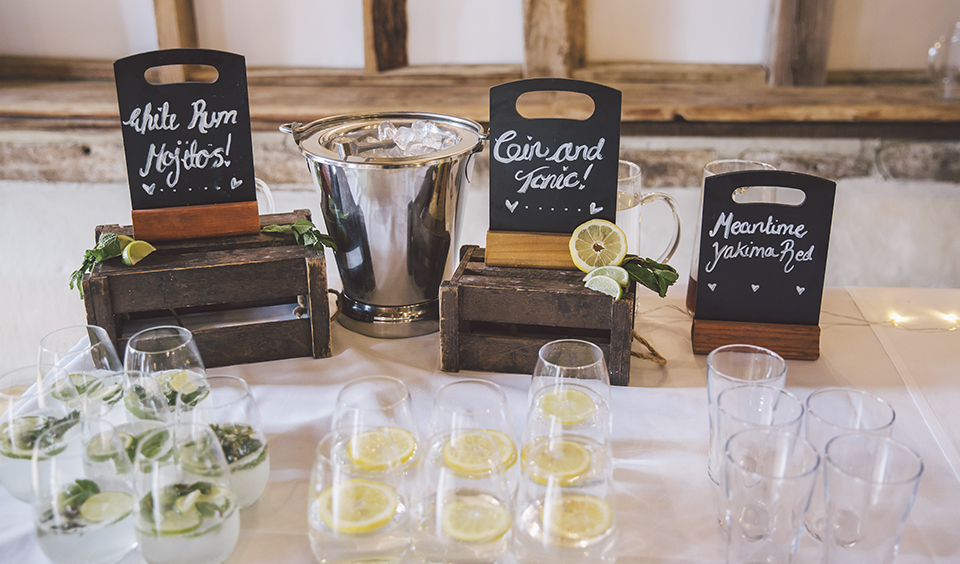 A cocktail station is the perfect choice for your spring wedding at Clock Barn in Hampshire