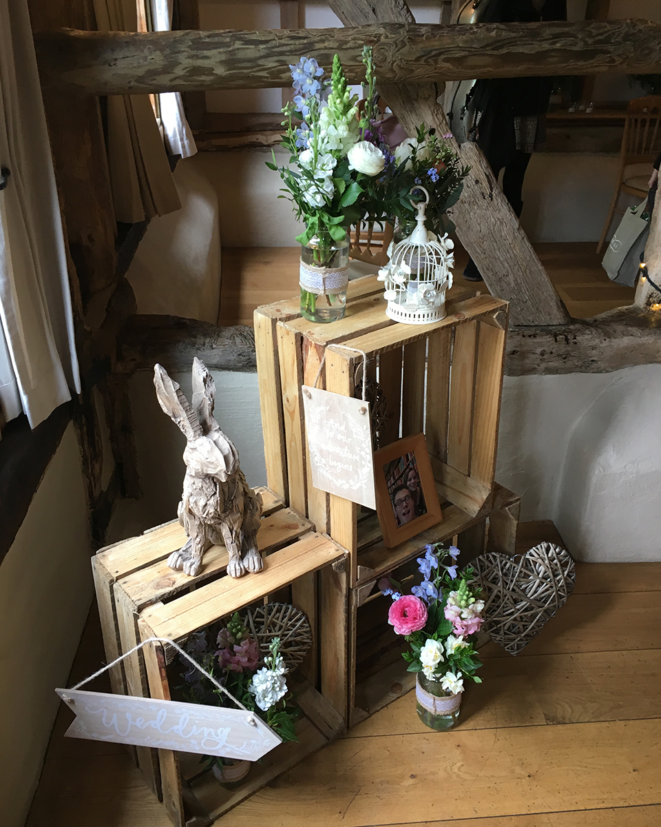Barn Wedding Ideas: Wooden Crates Were Used To Display Wedding Decorations At