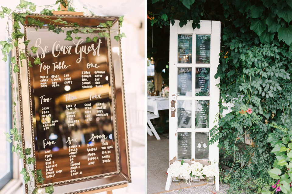 Framed mirrors are a simple but effective way of displaying your seating plans or be completely original and use an old glass panelled door at your Clock Barn wedding