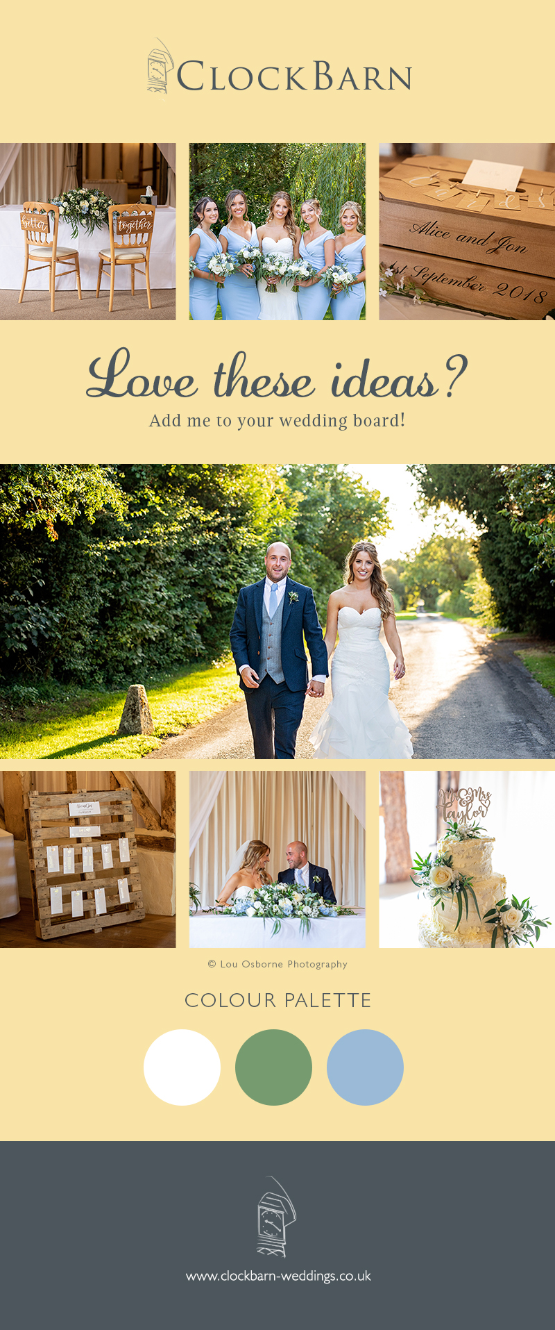 Alice and Jon's real life wedding at Clock Barn
