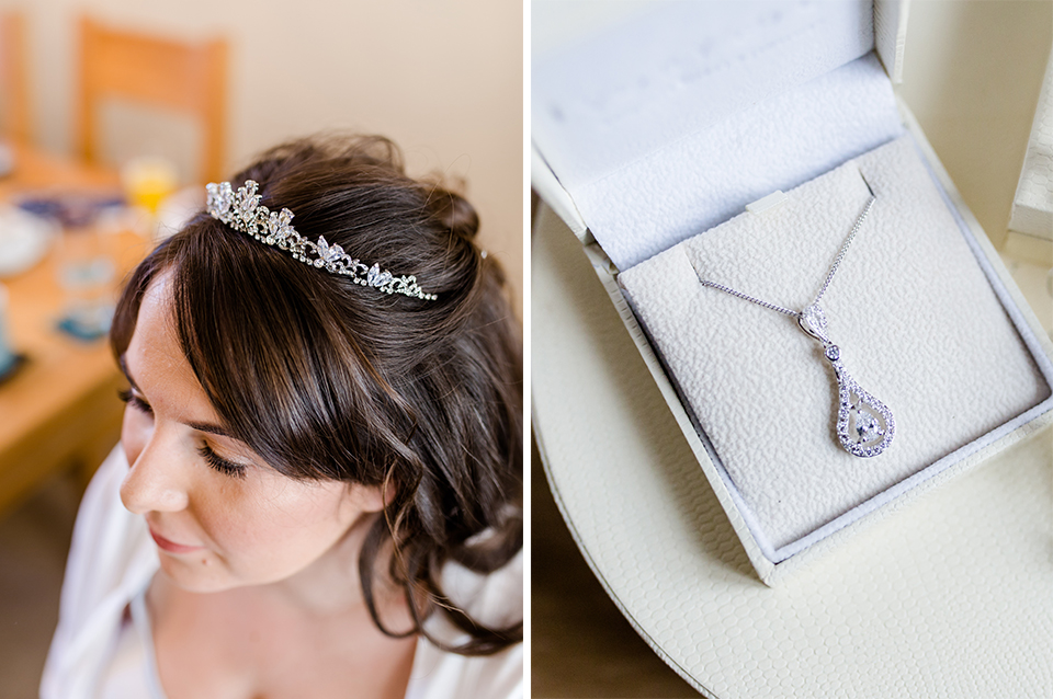 The bride wore a pretty bridal tiara and a diamante necklace for her wedding at Clock Barn in Hampshire