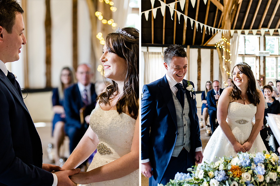 The happy couple says their vows at their wedding ceremony at Clock Barn in Hampshire