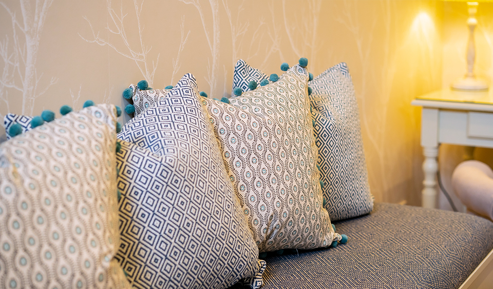 Detail of pillows in the Preparation Room